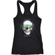 Neverless® Damen Tank-Top Totenkopf Skull Sonnenbrille Schädel Sounds of Detroit Music Racerback Bekleidung