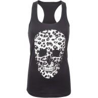 Schwarzes Damen Totenkopf mit Leopardenmuster Animal Print Skull Gothic Punk Tank Top T-Shirt Bekleidung