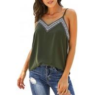 semen Tops Damen Sommer Oberteil Ärmellos T-Shirt Damen Bluse V-Aussschitt Noos Top Grün L Richten Sie nach Tabelle Bekleidung