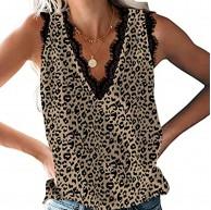 WGNNAA Damen Tank Top Sommer Ärmellose Chiffon Blusentop Spitzen V-Ausschnitt Weste Blumen Leopard Schlange Bedruckt Casual Shirt Tops Bluse Frauen Sexy Hemd mit Spitze Slip Sommer Strand Vest Bekleidung