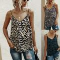 Writtian Sommer Damen Top Sexy Leopardenmuster Tank Tops V-Ausschnitt Camisole Sexy Ärmellose Spaghettiträger Bluse Oberteile Casual T-Shirt Bekleidung