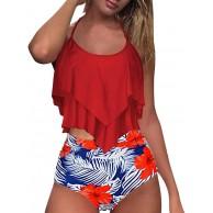 Beudylihy Bikini High Waist Damen Zweiteiliger Bikini Set Hohe Taille Bikinihose mit Langem Volant Rüschen Volant Geschichtet Bademode mit Boy Legs Shorts Rüschen Große Größen Bademode Badeanzug Bekleidung