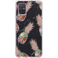 biteri Hülle für Galaxy A51 5G Kompatibel mit Samsung Galaxy A51 5G Hülle Silikon Transparent Blumen Marmor Handyhülle TPU Glitzer Slim Anti Gelb A51 5G Tasche Case Bumper Bekleidung