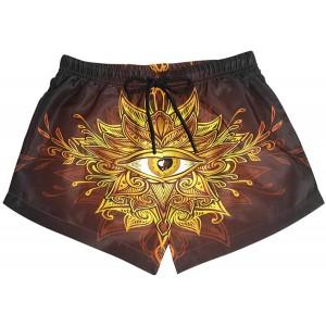 BONIPE Damen Badehose Chinesischer Drache Golden Eye Quick Dry Surf Beach Board Shorts mit Kordelzug und Taschen S Bekleidung