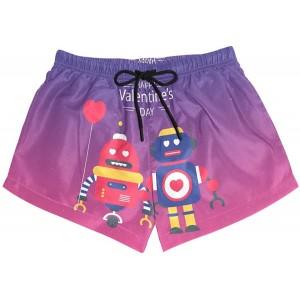 BONIPE Damen Badehose Happy Valentine's Day Robot Love Quick Dry Surf Beach Board Shorts mit Kordelzug und Taschen S Bekleidung