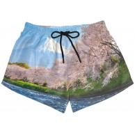 BONIPE Damen-Badehose japanische Kirschblüte Moutain-Landschaft schnell trocknend Surf-Board-Shorts mit Kordelzug und Taschen Größe S Bekleidung