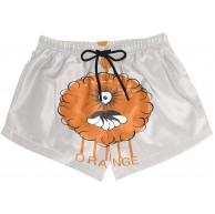 BONIPE Damen Badehose Lustige Cartoon Roboter Orange Schnell Trocknend Surf Beach Board Shorts mit Kordelzug und Taschen S Bekleidung