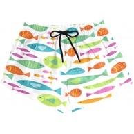 BONIPE Damen-Badehose mit buntem Fischmuster schnelltrocknend Surfshorts mit Kordelzug und Taschen Größe S Bekleidung