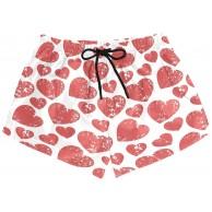 BONIPE Damen-Badehose Retro rot Herzmuster schnelltrocknend Surfen Strand Board-Shorts mit Kordelzug und Taschen Größe S Bekleidung