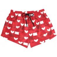 BONIPE Damen Badehose Valentinstag Liebe Rot Herz Muster schnell trocknend Surf Strand Boardshorts mit Kordelzug und Taschen S Bekleidung