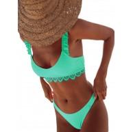 CORAFRITZ Damen Blumenbadebekleidung 2 Stück Sexy Bikini Low Rise Schwimmkostüm U-Boot-Träger Rüschen Badeanzug Bekleidung