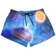Damen Badehose Galaxy Sternenhimmel helle Planeten Sonne schnell trocknend Surf Strand Boardshorts mit Kordelzug und Taschen S Bekleidung