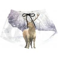 Damen Badehose Winter Schnee Tier Rentier Quick Dry Surf Beach Board Shorts mit Kordelzug und Taschen S Bekleidung