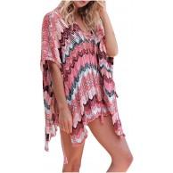Damen Blumen T-Shirt mit V-Ausschnitt ansprechend Beach Sun Block Smock Dress Sommer Bluse Tops Beachwear Bikini Cover up Leichte Bekleidung
