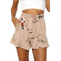 Damen Shorts Sommer Shorts Women's Short Summer Trousers Drawstring Elastic Fabric Trousers Solid Cotton Linen Beach Shorts with Pockets LäSsige Mode Strandshorts NEEDRA Bekleidung