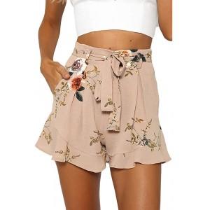 Damen Shorts Sommer Shorts Women's Short Summer Trousers Drawstring Elastic Fabric Trousers Solid Cotton Linen Beach Shorts with Pockets LäSsige Mode Strandshorts NEEDRA Bekleidung