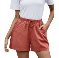 Damen Shorts Women's Pyjama Bottoms Short Lace Side Checked Pyjama Trousers Cotton Soft Lace Up Summer Shorts LäSsige Mode Strandshorts NEEDRA Bekleidung