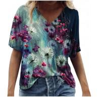 Damen Sommer Kurzarm Tshirts Slim Fit Retro Blumen Drucken Elegant Tshirts V-Ausschnitt große größen Tops Oberteile Lässig Top Mode Tunika Top Slim Fit Atmungsaktiv Bluse Sweatshirt Bekleidung
