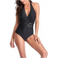 KIMODO Badeanzug Einteilige Damen Bademode Einfarbig Beachwear Geknotete Einteilige Badebekleidung Bikini Set Schwimmanzug Strandkleidung Bekleidung