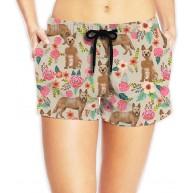LLOOP Damen Badehose mit floralem Muster Sandrot Bekleidung