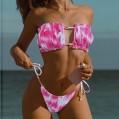 Moginp Damen Bikini Set schulterfrei Bandeau mit Kordelzug & Rüschen High Cut Einfarbig Bademode Bekleidung