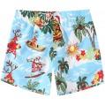 SSLR Damen Printed Quick Dry Boardshorts Beach Hawaiian Swimwear Trunks - Blau - 140 Bekleidung