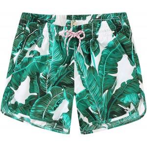 SSLR Damen Printed Quick Dry Boardshorts Beach Hawaiian Swimwear Trunks - Grün - 140 Bekleidung