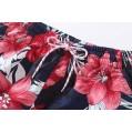 SSLR Damen Printed Quick Dry Boardshorts Beach Hawaiian Swimwear Trunks - Rot - 164 Bekleidung
