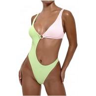 Summer Damen Badeanzug V-Ausschnitt Monokini Neckholder Cutout Einteiliger Bademode Bauchweg Bikini Sexy Bekleidung