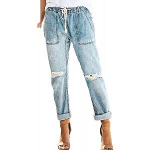 Vectry Damen Jeanshose Elastisch Taille Stretch Denim Pants Einfarbige Löcher Jeans Kordelzug Sommer Freizeithosen mit Taschen Bekleidung