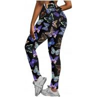 Vectry Damen Leggings Sport Fitnesshose Zurück Bowknot High Waist Yoga Sporthose Blumenmuster Stretch Jogginghose Kompressions Strumpfhose Trainingshose Skinny Gamaschen Bekleidung