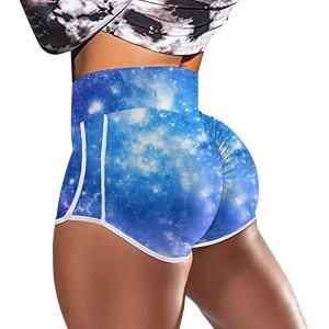 Vectry Damen Sportshort Kurz Leggings Hohe Taille Bauchkontrolle Shorts Bunt Fitnesshose Sporthose Tights Laufhose High Waist Kurze Hose Skinny Stretch Hot Pants Bekleidung