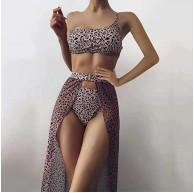 VESNIBA Damen Badeanzug Bikini Sets Hoch taillierte Halter Vintage Plus Größe Push Up Dreiteiliger Anzug Bademode Strandkleidung Bekleidung