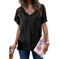 Aleumdr Damen T-Shirt V-Ausschnitt Kurzarmshirt Basic Damen T-Shirts Lose Top Sommer Kurzarm Shirts Casual Oberteil Bluse Tops Bekleidung