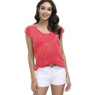 DOTIN Damen T-Shirt Kurzarm Sommer Shirt mit Ausbrenner Druck Locker Bluse Ärmellos T Shirt Basic Tops Bekleidung