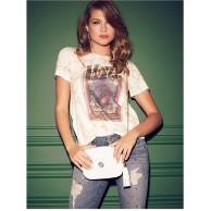 Guess Damen Short Sleeve ROYAL Tour Easy T-Shirt cremeweiß X-Groß Bekleidung