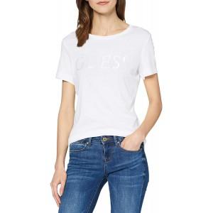 Guess Damen Ss Rn Satinette Tee T-Shirt Bekleidung