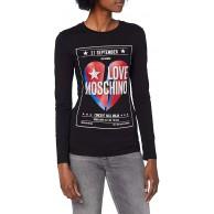 Love Moschino Damen Long Sleeve Poster and Logo Print T-Shirt Bekleidung