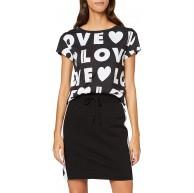 Love Moschino Damen Regular fit Short Sleeve Allover Love Print T-Shirt Mehrfarbig Logo W Black 0032 38 Herstellergröße 42 Bekleidung