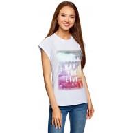 oodji Ultra Damen Baumwoll-T-Shirt mit Unbearbeitetem Saum Bekleidung