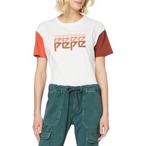 Pepe Jeans Damen T-Shirt Pepe Jeans Weiß Mousse 808 Medium Bekleidung