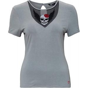 Queen Kerosin Damen T-Shirt Mit Lace-Einsatz Und Stickerei Rundhals Kurzarm T-Shirt Regular Fit Vintage Abgesteppt Bekleidung