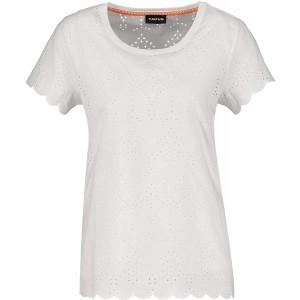 Taifun Damen T-Shirt aus Baumwoll-Lochspitze figurumspielend Bekleidung
