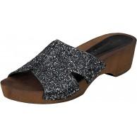 Linea Scarpa Panaji Holzclogs Pantoletten echtes Leder Damen schwarz und Gold mit Absatz Schuhe & Handtaschen