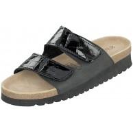 Supersoft Pantoletten Damen Schuhe 275-106 Schwarz Lack Lederfußbett Schuhe & Handtaschen