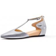 AJOY SAHU Marry Jane Damen-Schuhe Leder geschlossener Zehenbereich T-Verschluss Eidechse strukturiert Kalbsleder flach Schuhe & Handtaschen