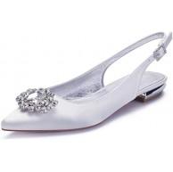 AQTEC Damen Elegante Ballerinas Satin Spitz Strass Brautschuhe Slingbacks Flache Abendschuhe Hochzeitsschuhe Sandalen Schuhe & Handtaschen