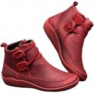 Blivener Damen Arch Support Stiefel wasserdichte Stiefeletten Vintage Stiefeletten Flache Stiefel Anti Rutsch Bequeme Booties Schuhe & Handtaschen