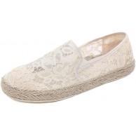 Canvas Slip-On Travel Schuhe -Damen Freizeit Loafers Comfort Espadrilles-Mode Slip on Flach Freizeitschuhe-Hohl Spitze Segeltuchschuhe Beige 40 Schuhe & Handtaschen