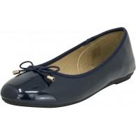 Fitters Footwear That Fits Damen Ballerina Fiona Synthetik Lack Ballerina klassisch mit Schleife Übergröße EU Schuhe & Handtaschen